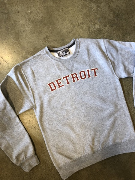 Detroit Varsity Sweatshirt / Red + Athletic Heather / Unisex - Pure Detroit