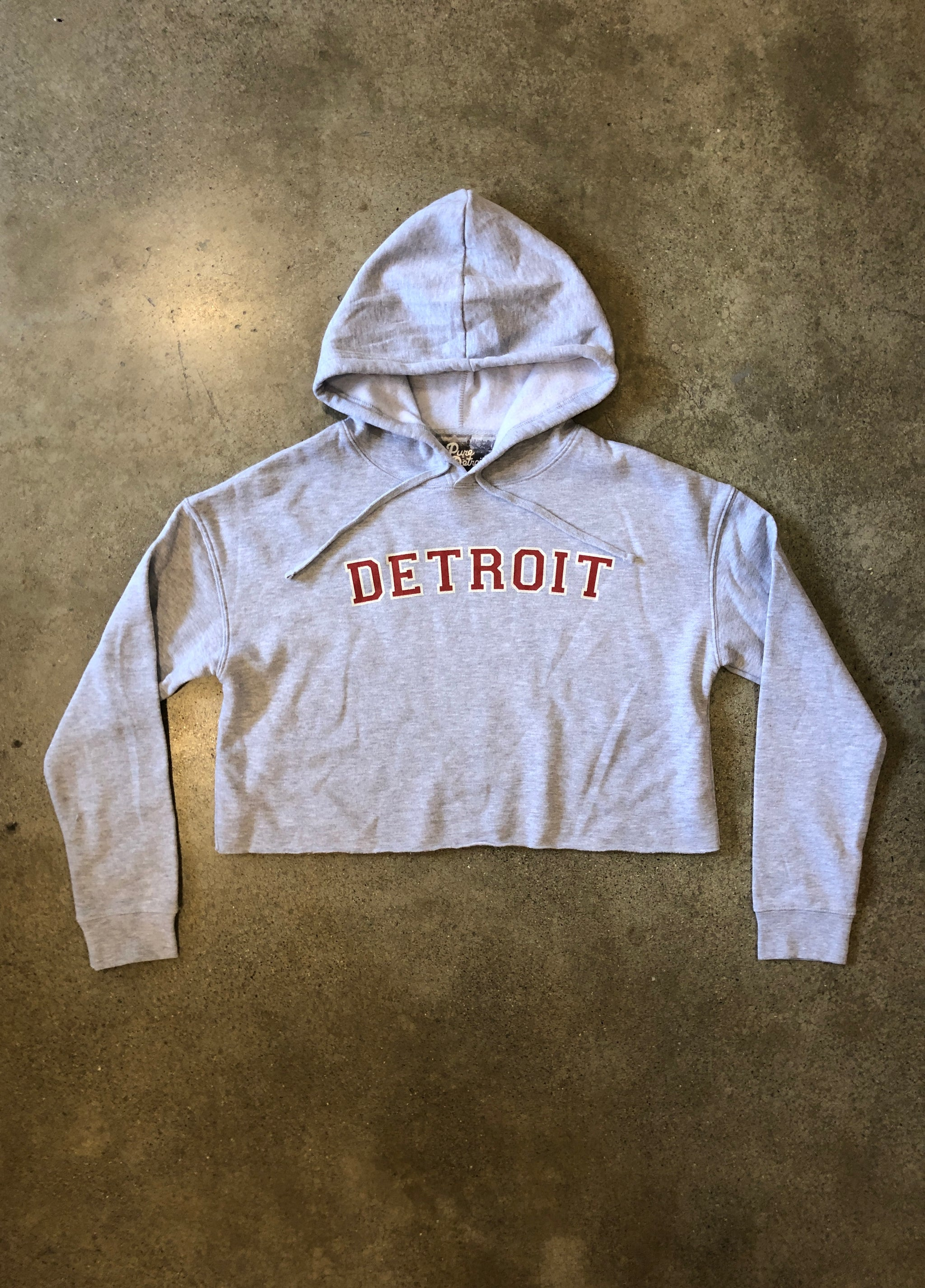Detroit Classic Cropped Hooded Sweatshirt / Red + Heather Gray / Women's - Pure Detroit