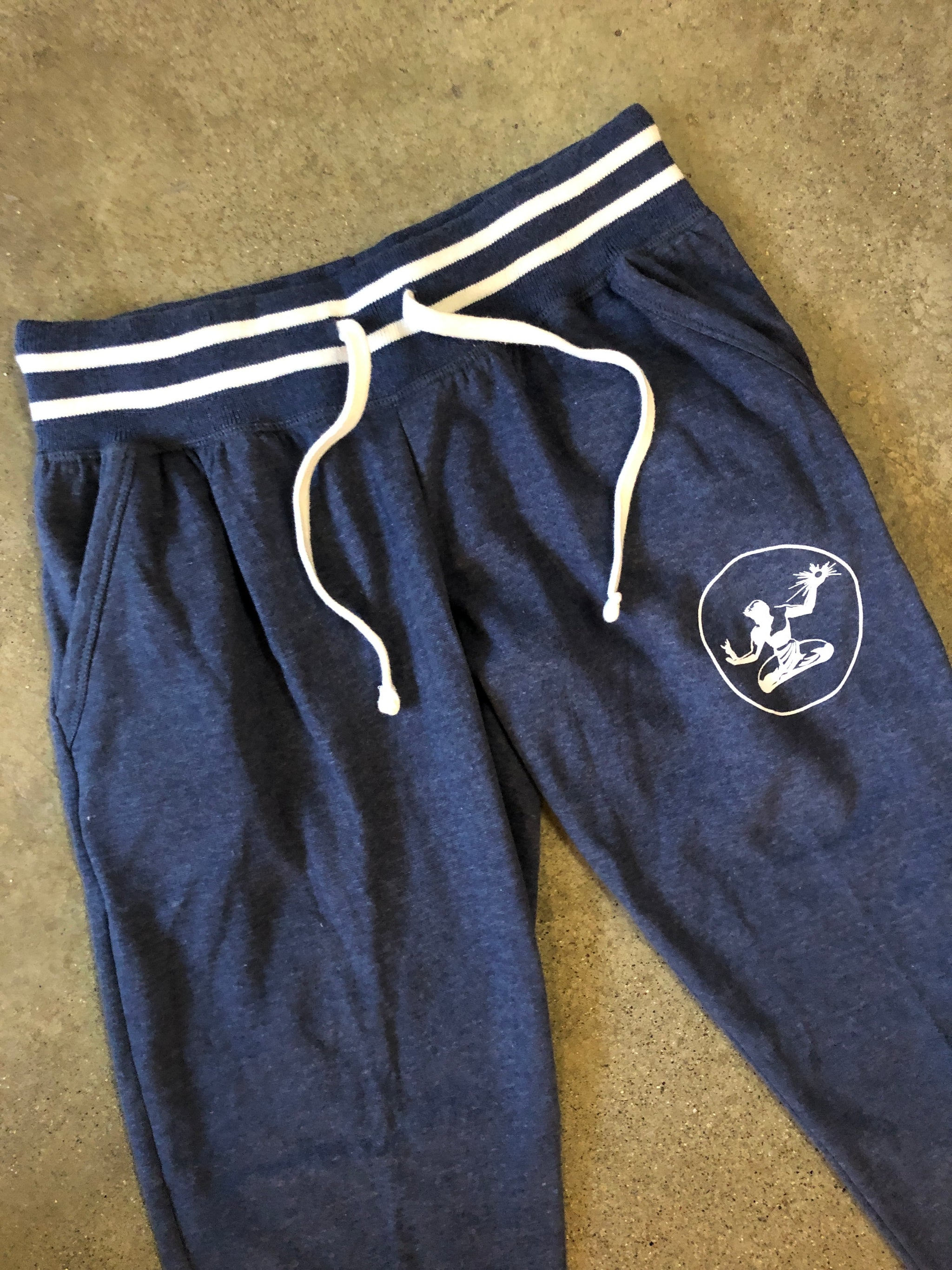 Spirit of Detroit Relay Jogger Sweatpants / White + Navy / Women's - Pure Detroit