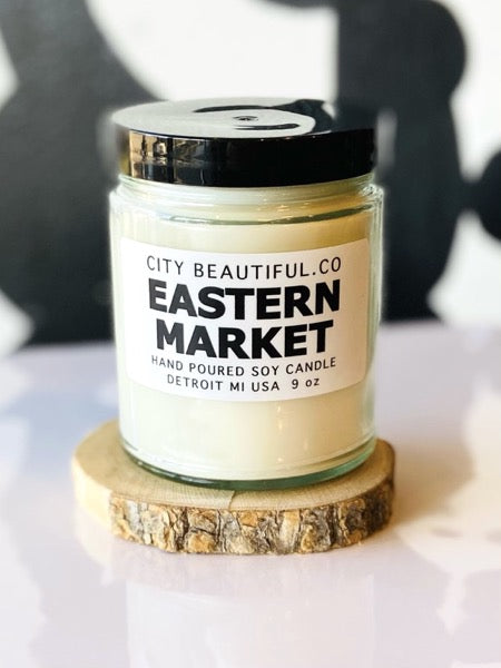 Detroit Eastern Market Candle - Hand Poured Soy Candle by City Beautiful . Co - 9oz. - Pure Detroit