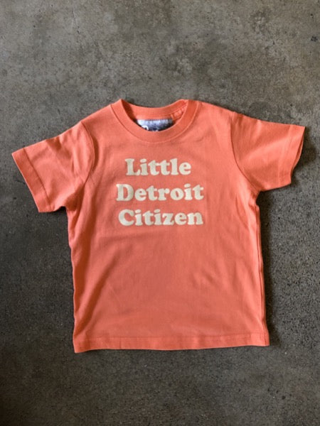 Little Detroit Citizen Tee / White + Papaya / Toddler - Pure Detroit