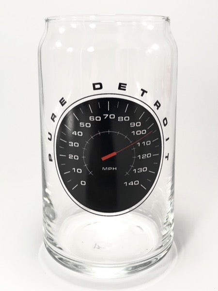 Pure Detroit Speedometer 16 oz Can Glass - Pure Detroit
