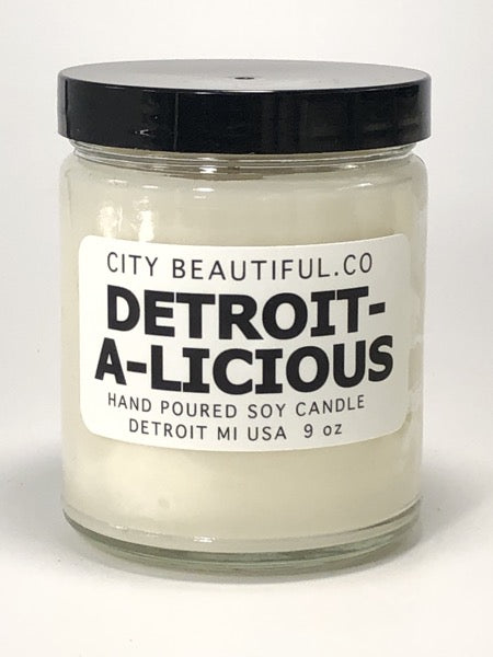 Detroit-A-Licious - Hand Poured Soy Candle by City Beautiful . Co - 9oz. - Pure Detroit