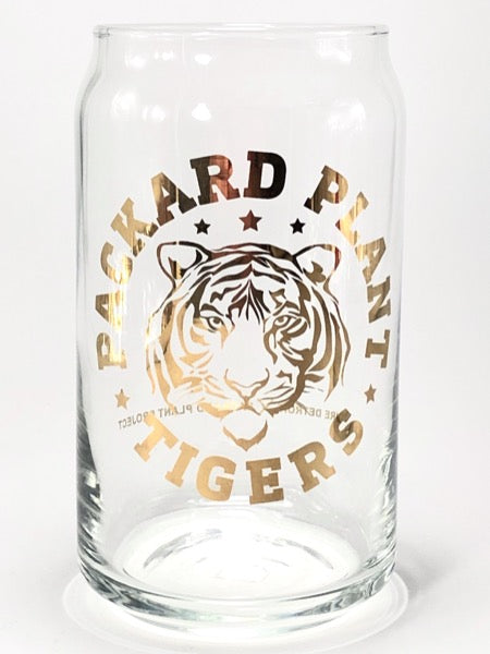 Packard Plant Tigers Gold Leaf 16 oz Can Glass - Pure Detroit