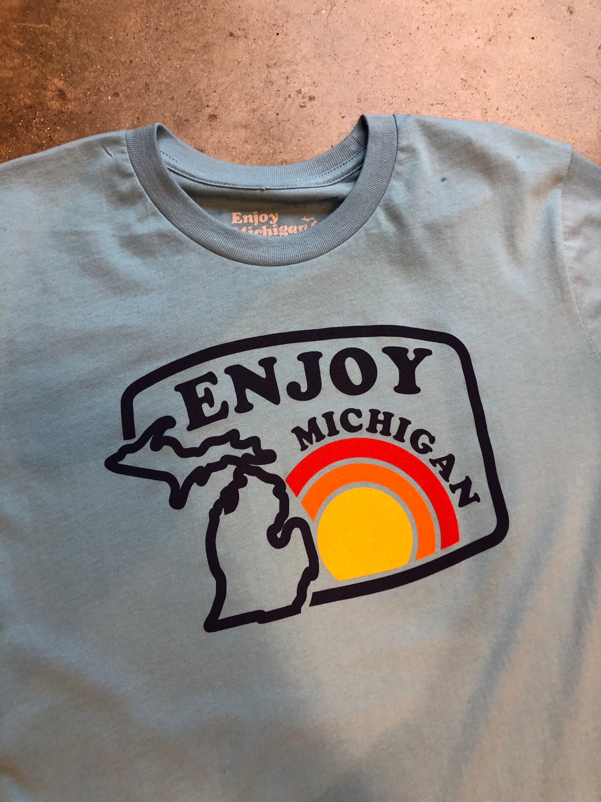 Enjoy Michigan Retro Tee / Light Blue / Unisex - Pure Detroit
