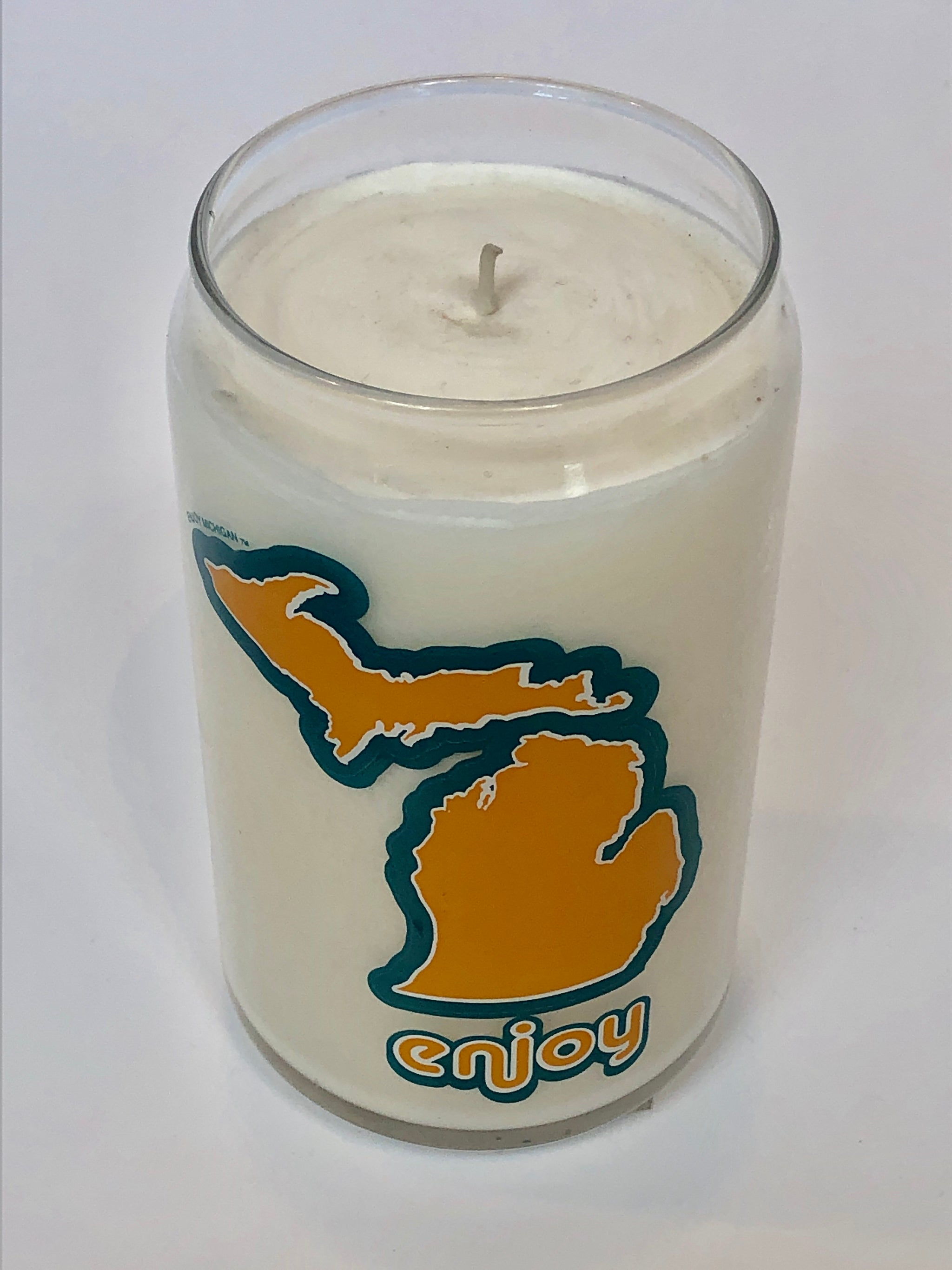Enjoy Michigan Beer Can Glass Candle - Pure Detroit