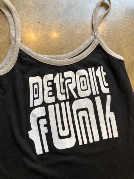 Detroit Funk Ringer Tank/ Black + Gray / Women's - Pure Detroit