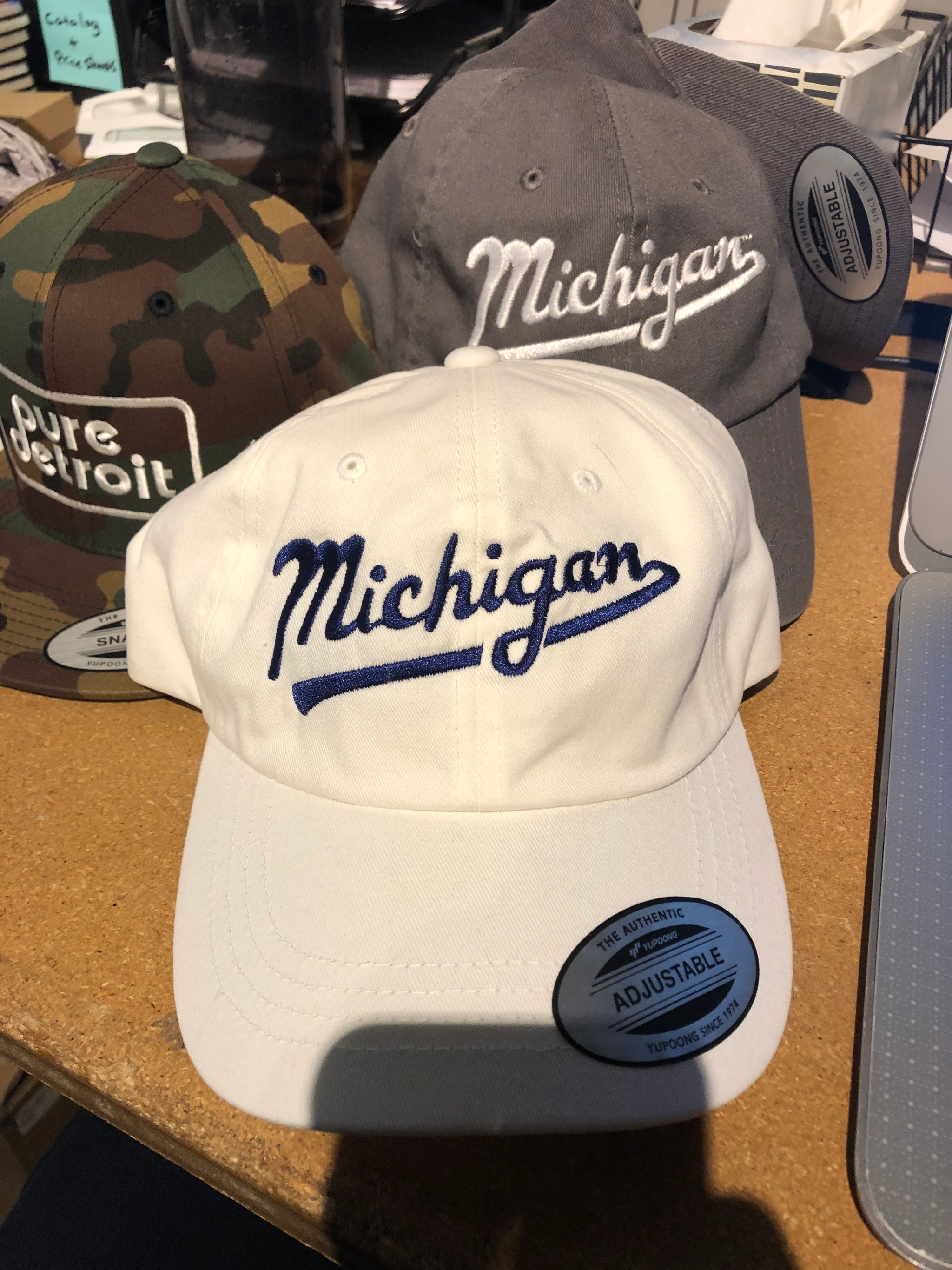 Michigan Script Classic Adjustable Hat / Navy + White - Pure Detroit