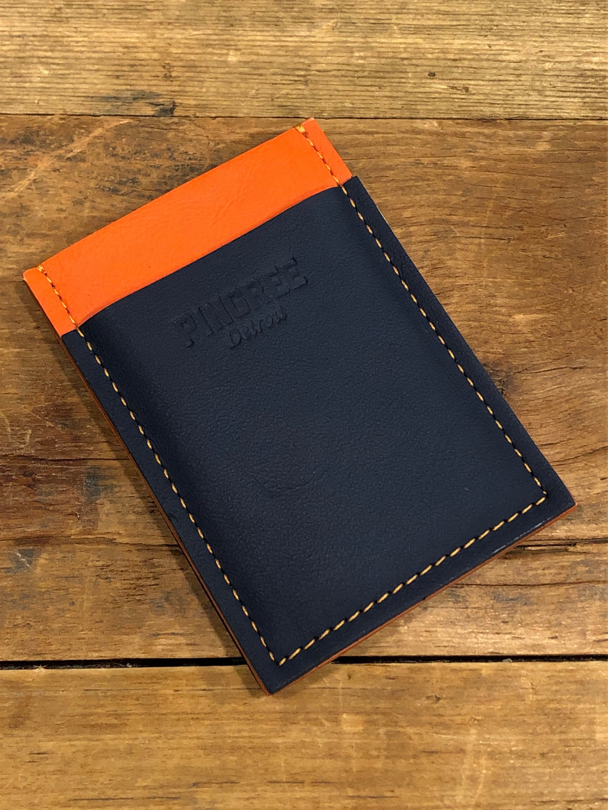 Pingree Slim Card Wallet / Orange + Navy - Pure Detroit