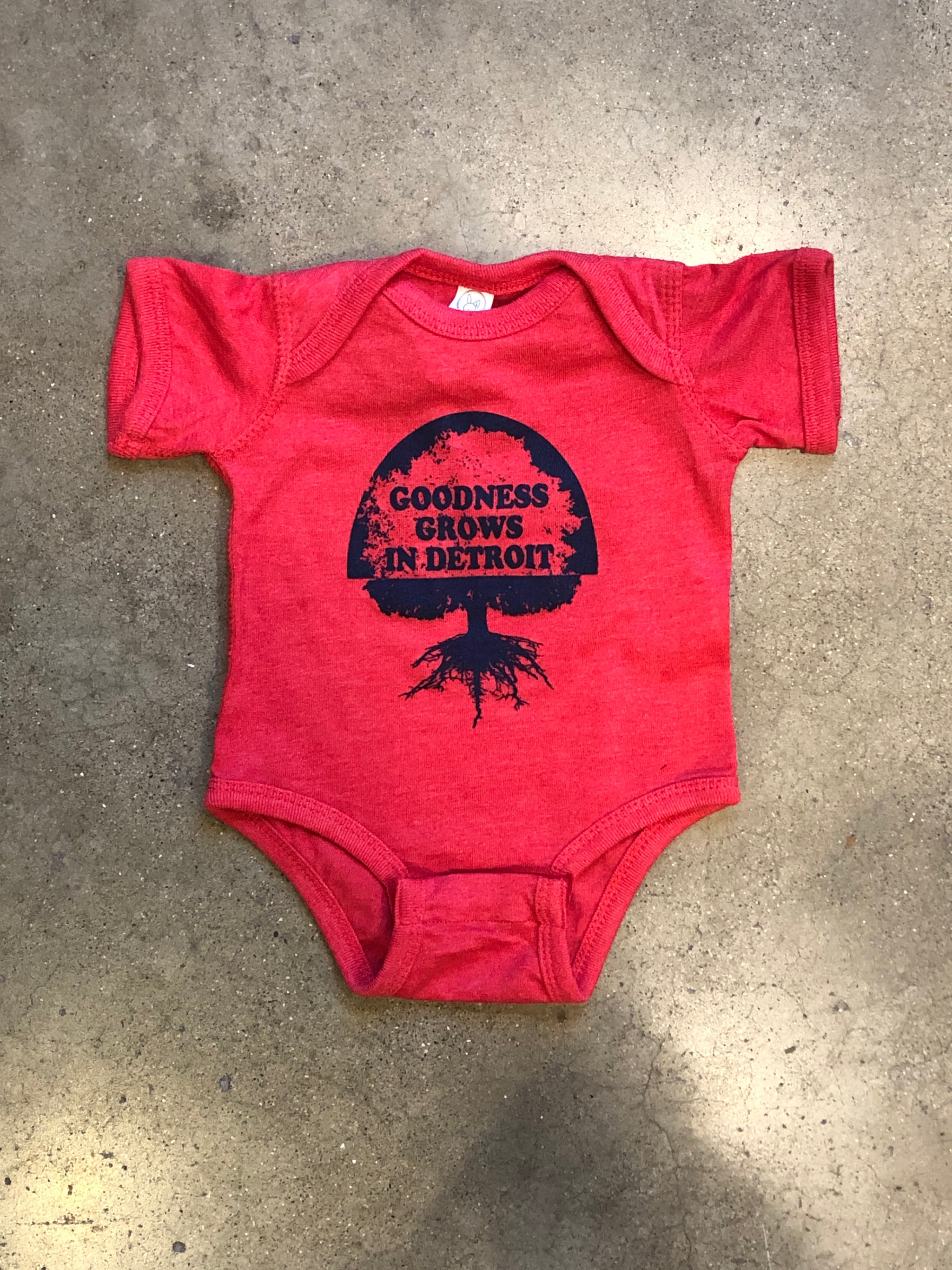 Goodness Grows in Detroit Onesie / Navy + Red / Baby - Pure Detroit