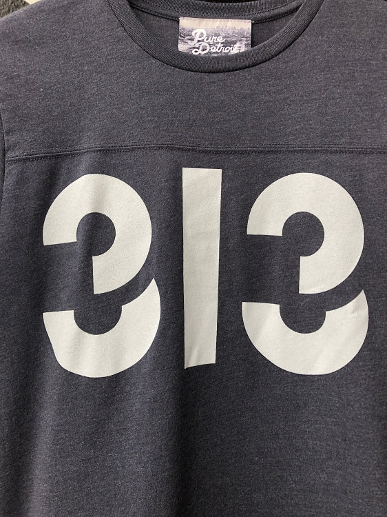 313 Football Tee / White + Vintage Navy / Unisex - Pure Detroit