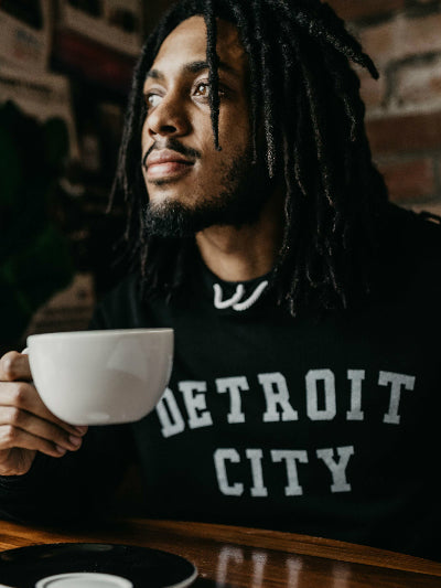 Detroit City Pullover Hooded Sweatshirt / White + Black / Unisex - Pure Detroit
