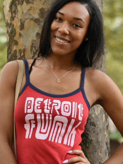 Detroit Funk Ringer Tank/ Red +  Navy / Women's - Pure Detroit