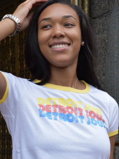 Detroit Soul Triple Stack Ringer Tee / Multi-color + Yellow + White / Women's