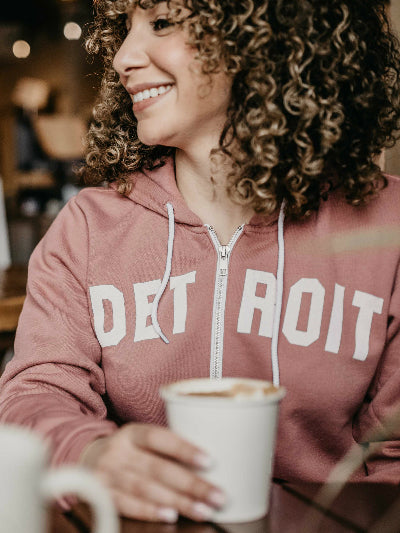 Detroit hoodie. Full zip, tri-blend, eco-fleece. Unisex