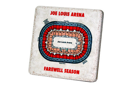 Joe Louis Arena Birds Eye Seating Chart Porcelain Tile Coaster - Pure Detroit