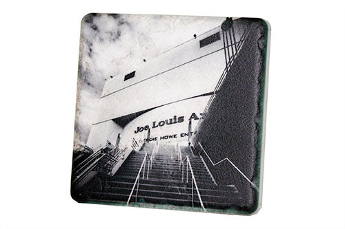 Joe Louis Arena Black & White Porcelain Tile Coaster - Pure Detroit