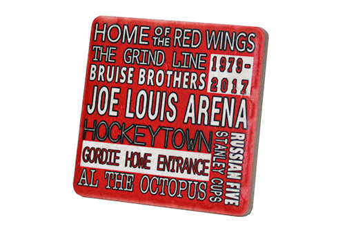 Joe Louis Red Typography  Porcelain Tile Coaster - Pure Detroit