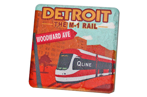 M1 Rail Travel Poster Porcelain Tile Coaster - Pure Detroit