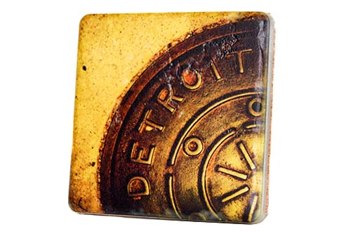 Detroit Manhole Porcelain Tile Coaster - Pure Detroit
