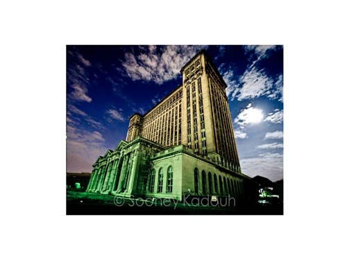 Michigan Central Station at Night Luster or Canvas Print $35 - $430