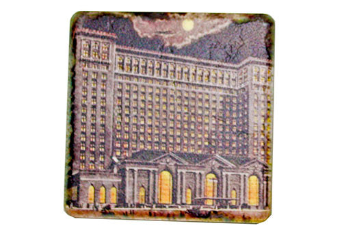Vintage Michigan Central Station at night Tile Coaster - Pure Detroit