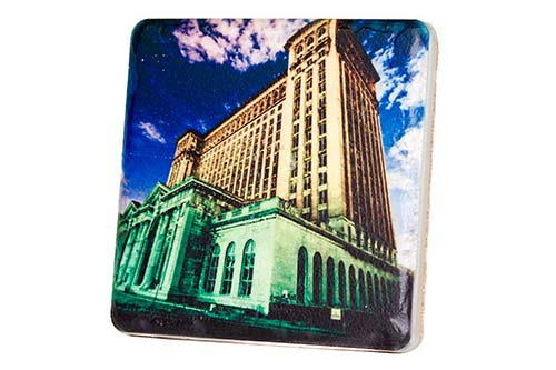 Michigan Central Station at Night Porcelain Tile Coaster