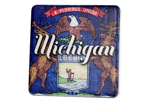Michigan Flag Porcelain Tile Coaster - Pure Detroit