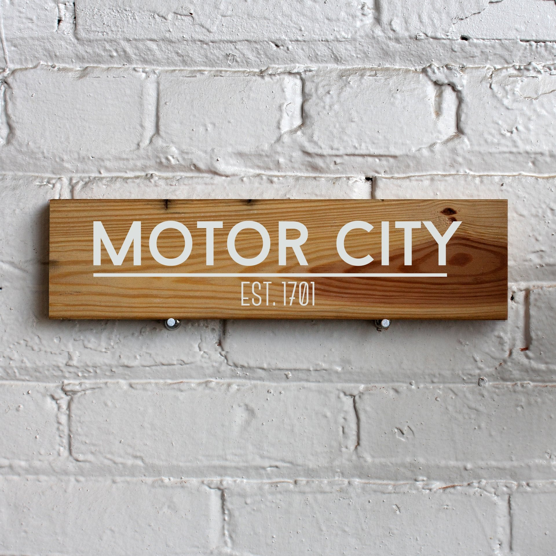 Reclaimed Wood Sign - Motor City - Pure Detroit