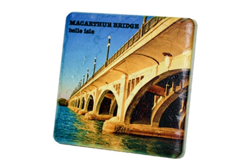 Belle Isle MacArthur Bridge Porcelain Tile Coaster - Pure Detroit