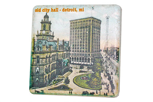 Vintage Old Detroit City Hall Porcelain Tile Coaster