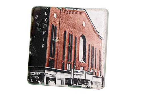 Vintage Olympia Stadium Color Porcelain Tile Coaster - Pure Detroit