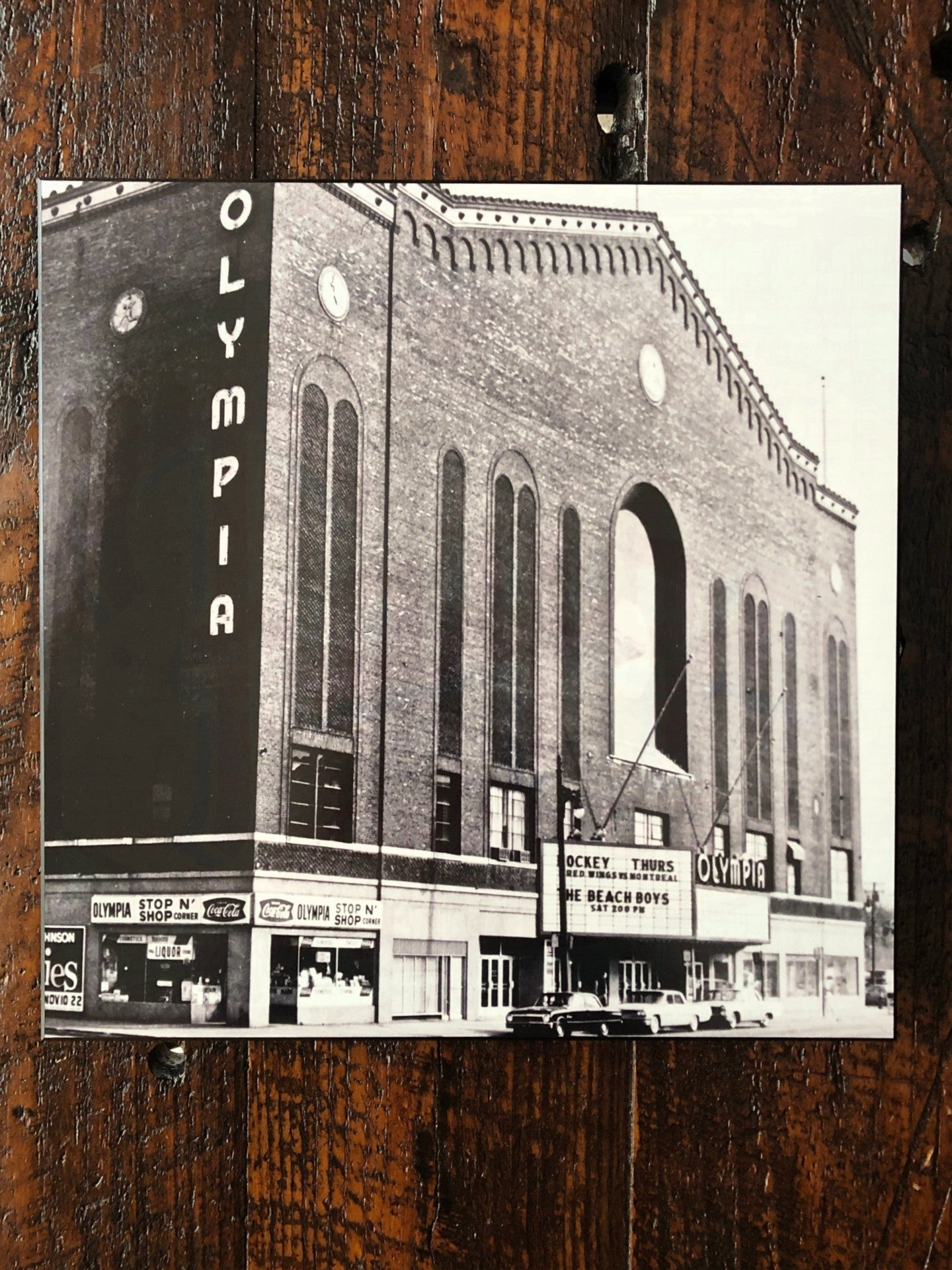 Historic Olympia Stadium Black and White Woodblock Print - Pure Detroit