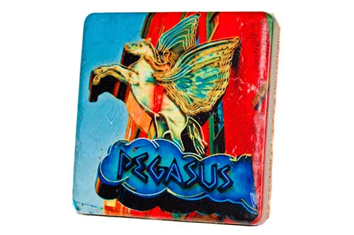 Pegasus Sign Porcelain Tile Coaster - Pure Detroit