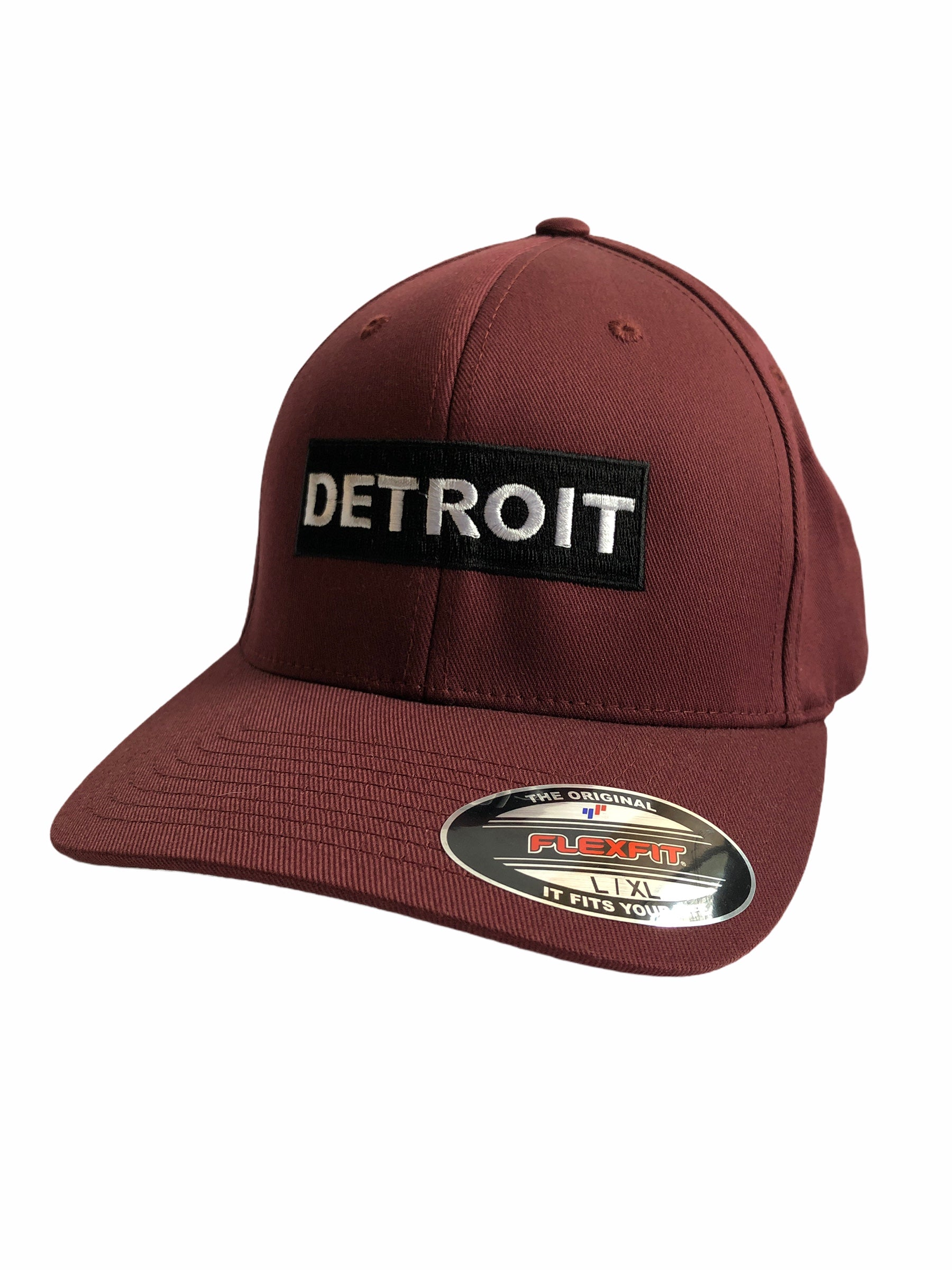 Detroit Premium Flexfit Fitted Hat / Maroon - Pure Detroit
