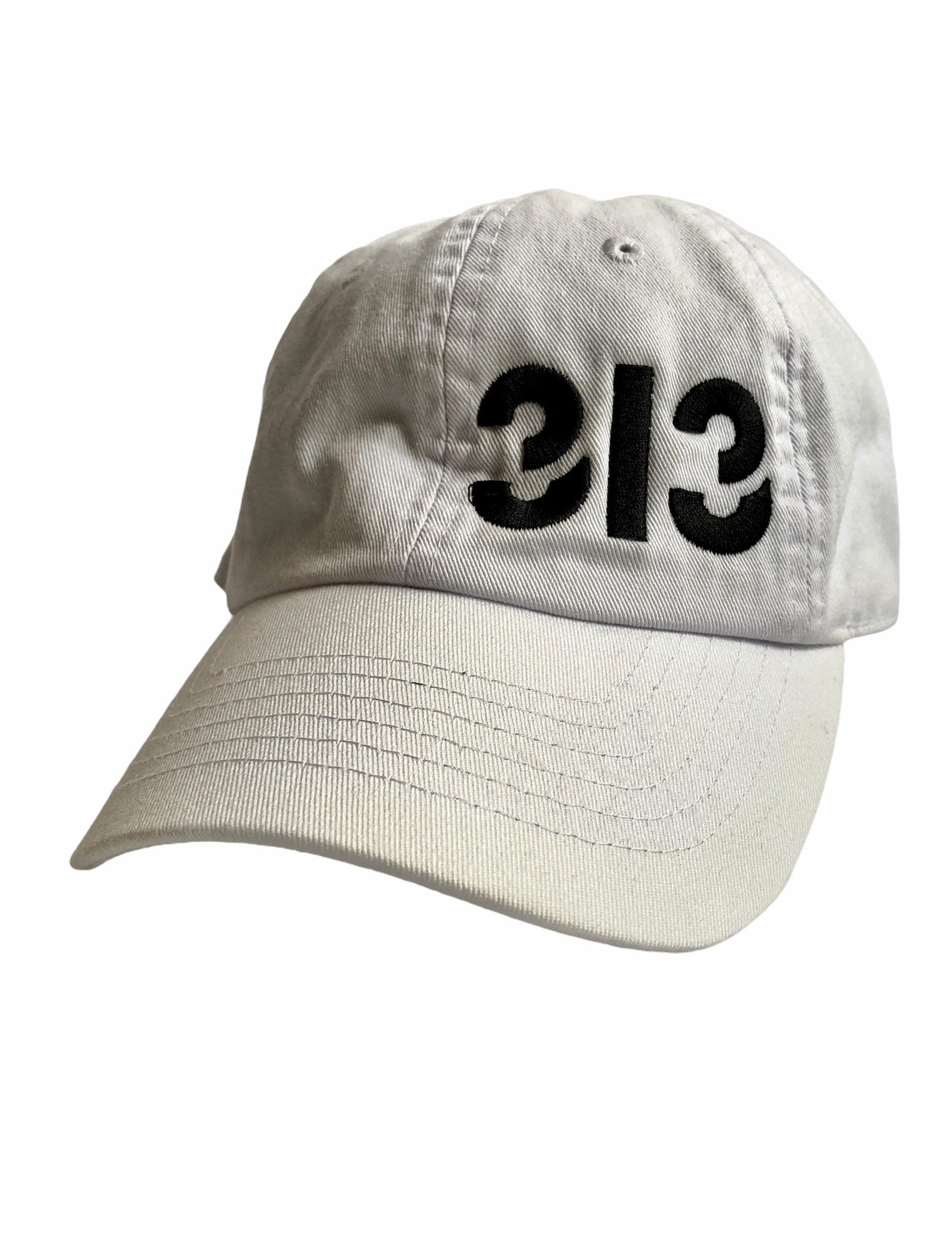 313 Champion Twill Cap - Black + White - Pure Detroit