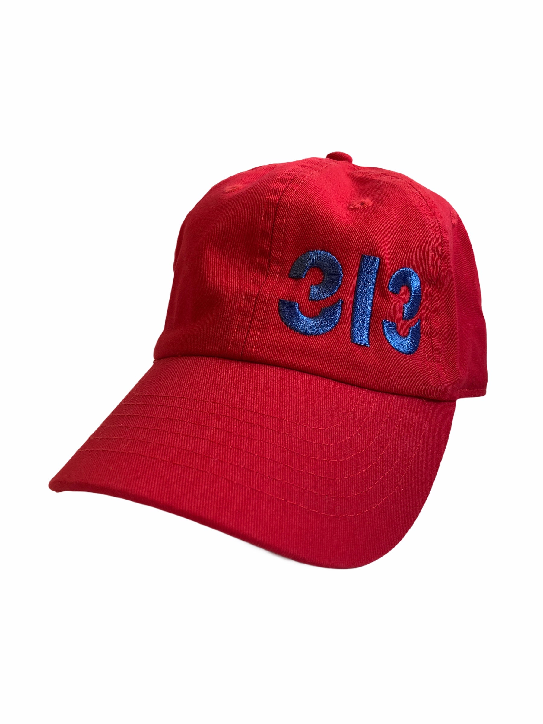313 Champion Twill Cap - Blue + Red - Pure Detroit