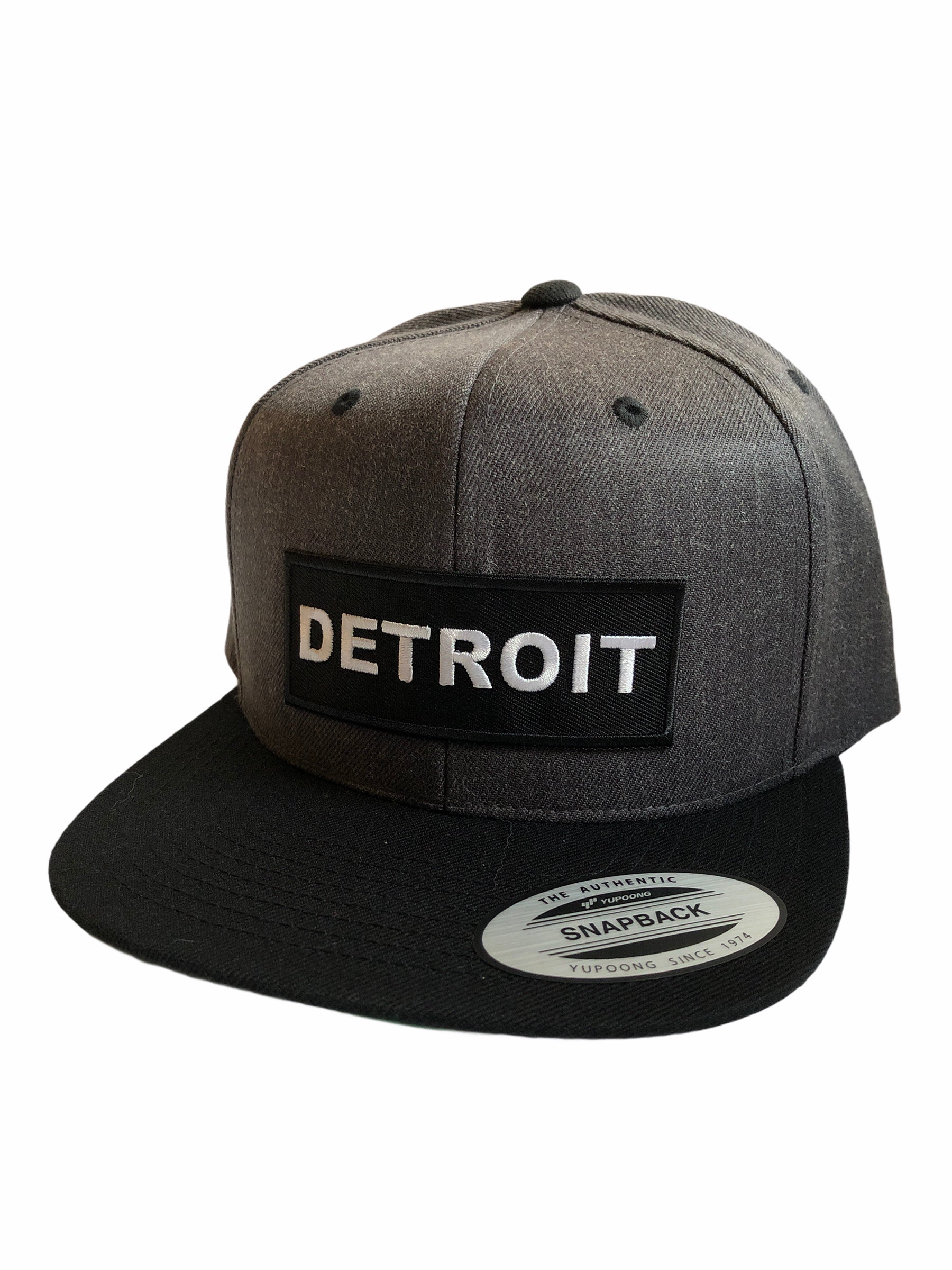 Detroit Premium Snapback Hat / Charcoal + Black - Pure Detroit