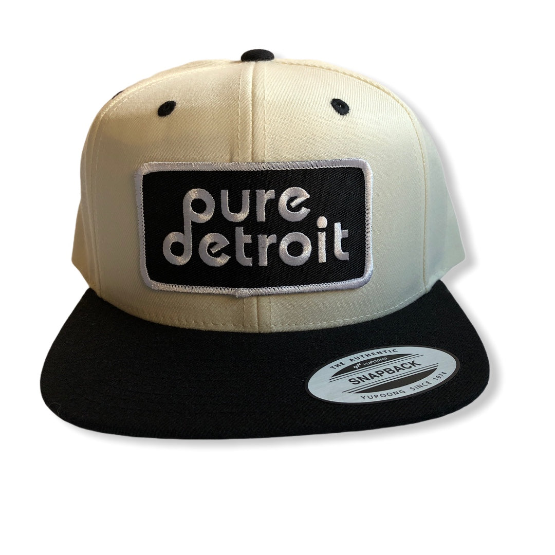 Pure Detroit Snapback Hat / Cream + Black - Pure Detroit