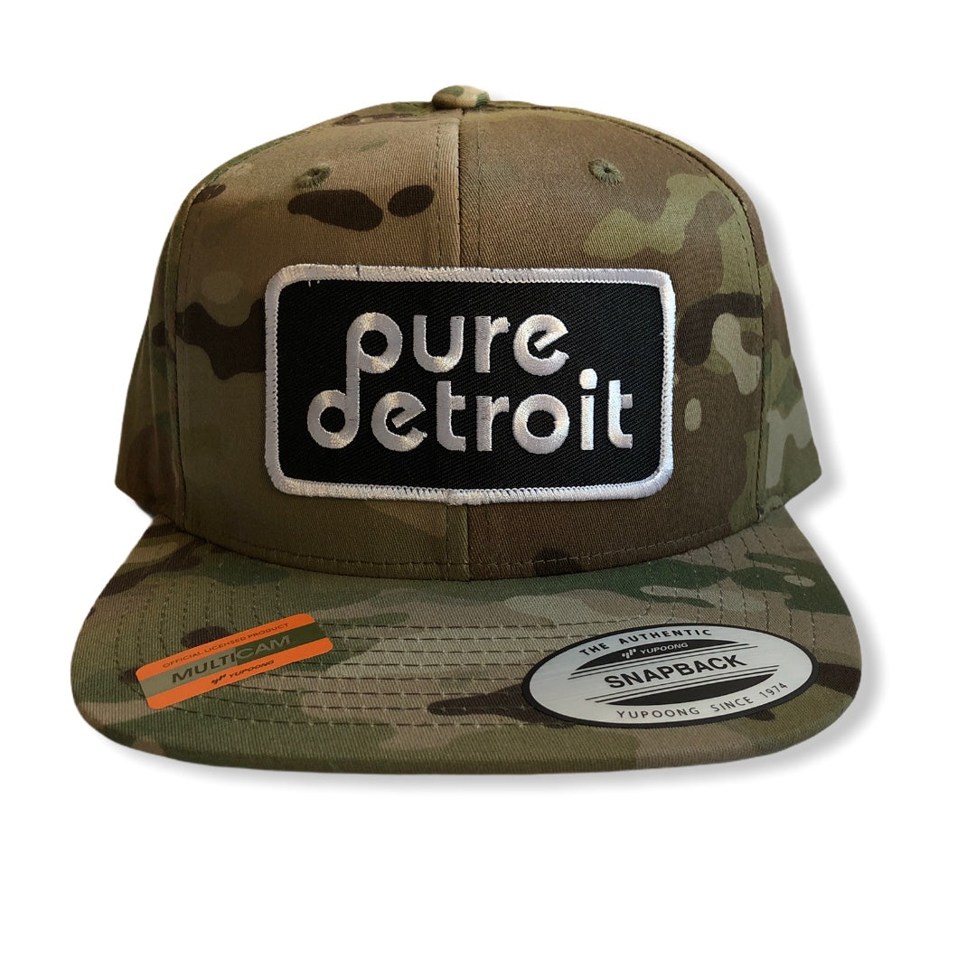 Pure Detroit Snapback Hat / Light Camo - Pure Detroit