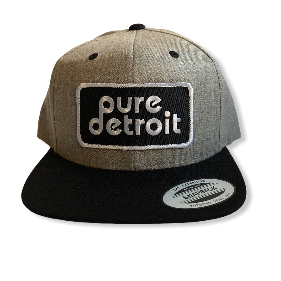 Pure Detroit Snapback Hat / Gray + Black - Pure Detroit