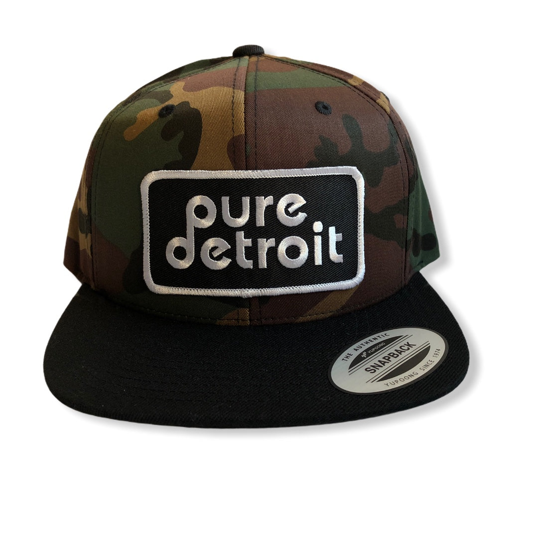 Pure Detroit Snapback Hat / Camo + Black - Pure Detroit