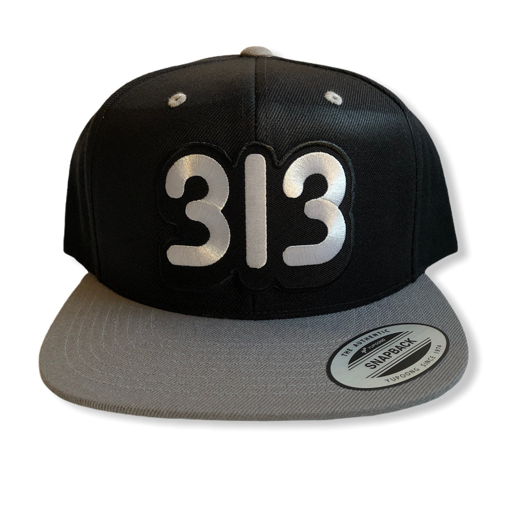 313 Snapback Hat / Black + Gray - Pure Detroit