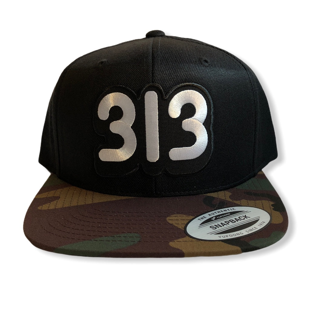 313 Snapback Hat / Black + Camo - Pure Detroit