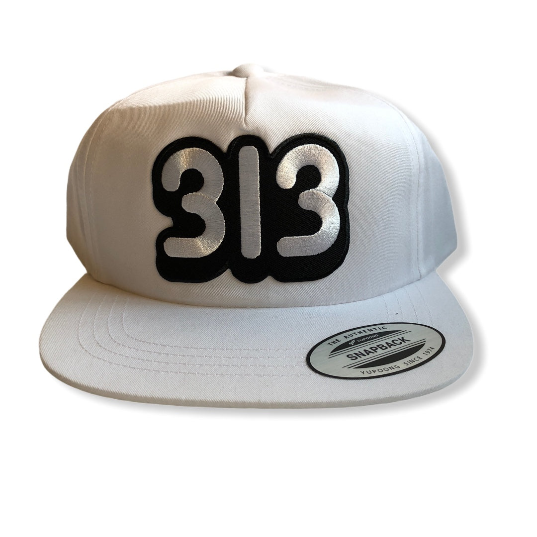 313 Snapback Hat / White - Pure Detroit
