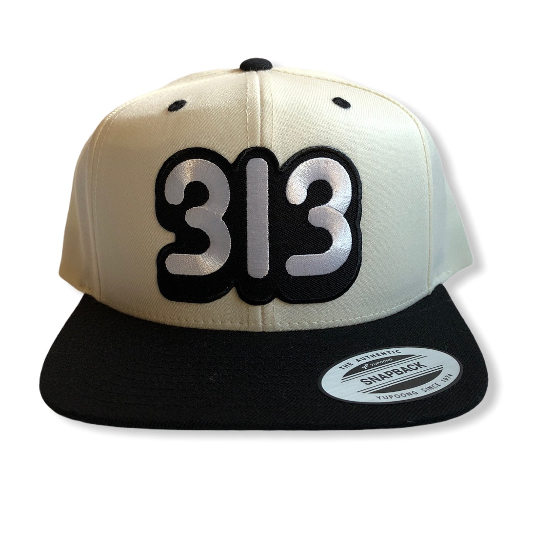 313 Snapback Hat / Cream + Black - Pure Detroit
