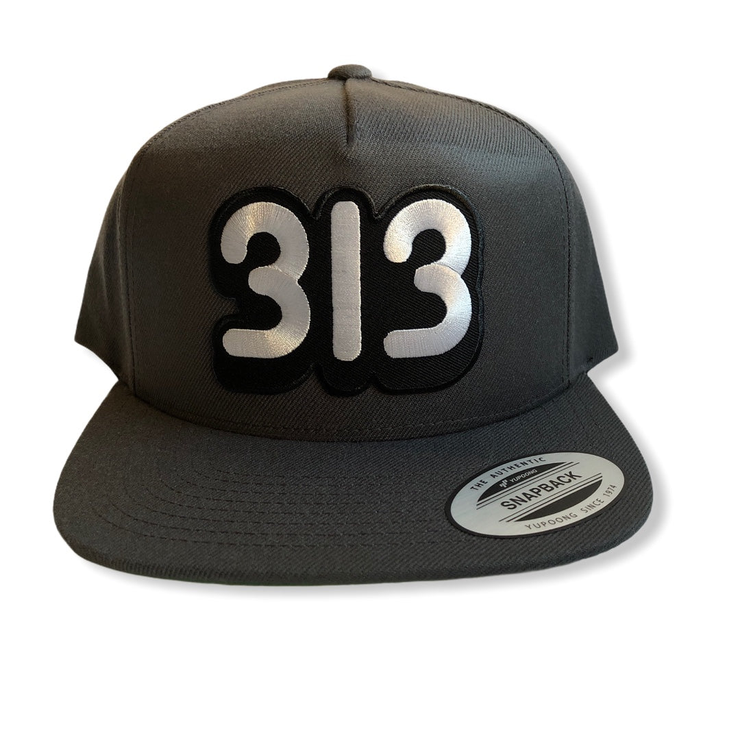 313 Snapback Hat / Dark Gray - Pure Detroit