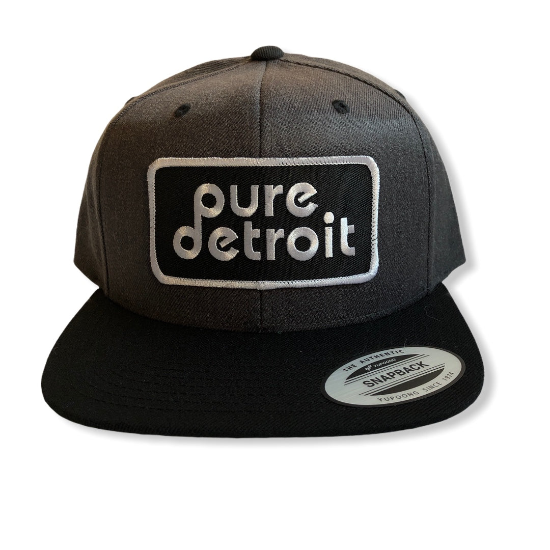 Pure Detroit Snapback Hat / Charcoal + Black - Pure Detroit