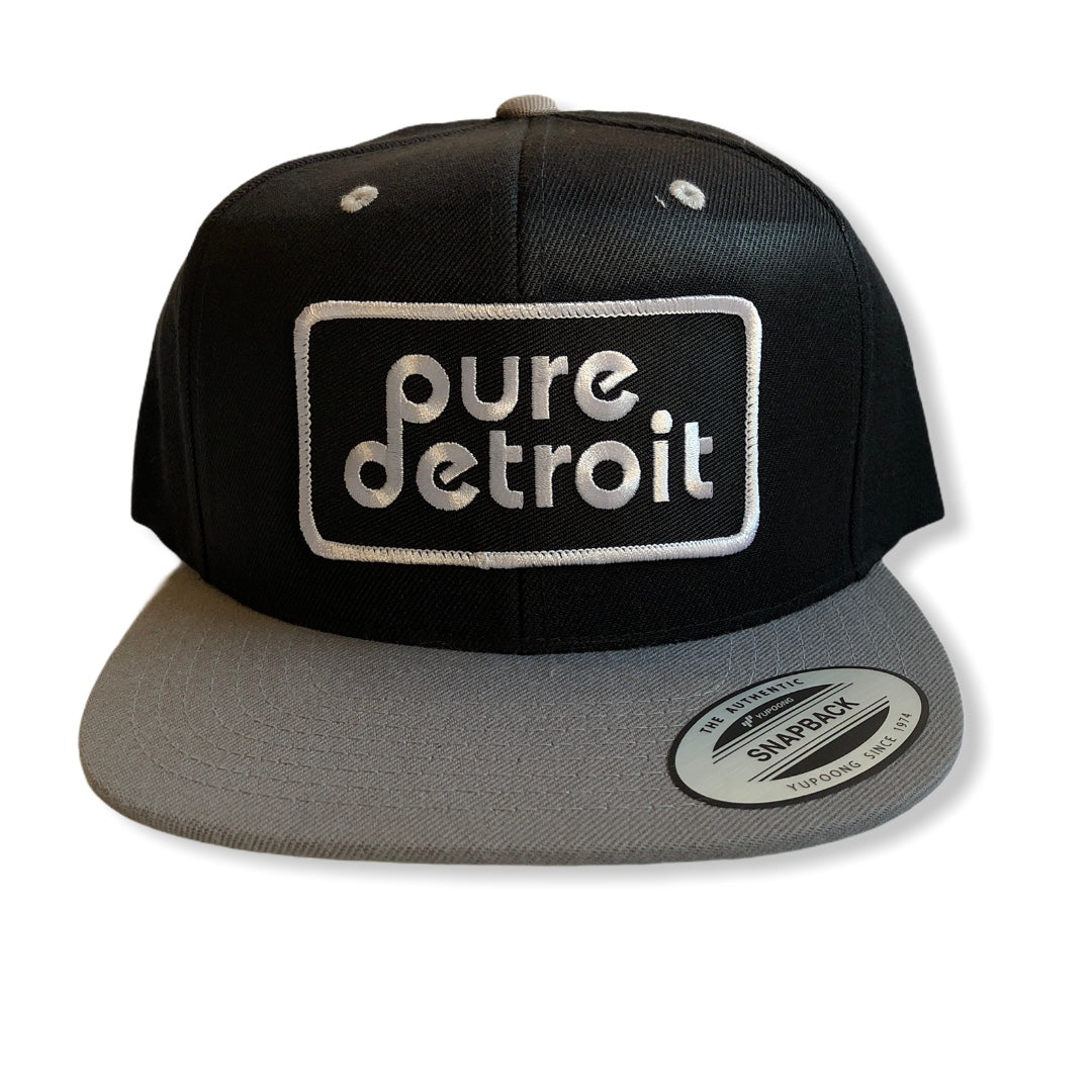 Pure Detroit Snapback Hat / Black + Gray - Pure Detroit