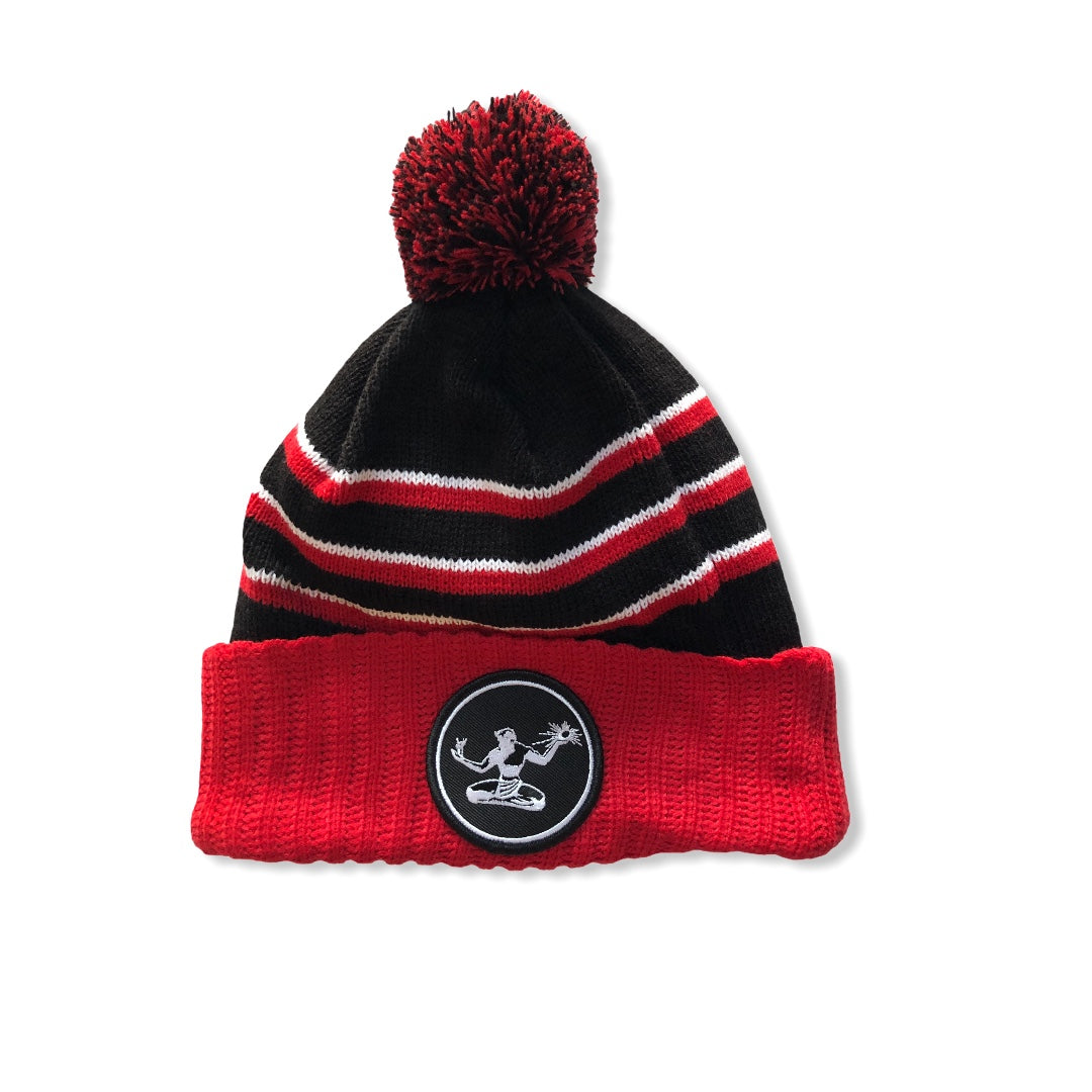 Spirit of Detroit Pom Pom Beanie / Red, White, and Black - Pure Detroit